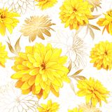Seamless pattern summer flowers. Seamless pattern with flowers of Rudbeckia Laciniata, also called Golden Ball on a white background with sequins. Hand drawn Stock Photos