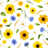 Seamless pattern with summer flowers. Vector illustration. Royalty Free Stock Photography
