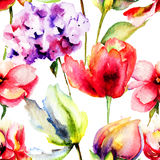 Seamless pattern with Summer flowers Stock Photography