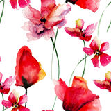 Seamless pattern with summer flowers Royalty Free Stock Photos