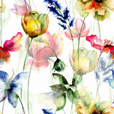 Seamless pattern with Summer flowers Stock Images