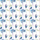 Seamless pattern with Summer flowers. Watercolor illustration Royalty Free Stock Photography