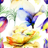 Seamless pattern with Summer flowers Stock Image