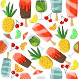 Seamless pattern with summer food and drinks: ice cream, cocktail, pineapple vector illustration