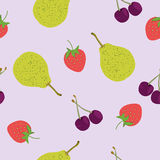 Seamless pattern with summer fruits. Strawberry cherry pear Stock Images
