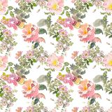 Seamless pattern of summer garden yellow and pink rose flower. Watercolor floral illustration. Botanical decorative. Continuous gentle blooming plant pattern stock illustration