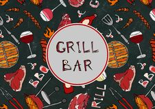 Seamless Pattern of Summer Grill and Bar Party. Steak, Sausage, Barbeque Grid, Tongs, Fork, Fire, Ketchup. Black Board Background. And Chalk. Hand Drawn Vector royalty free illustration