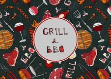 Seamless Pattern of Summer Grill and BBQ. Steak, Sausage, Barbeque Grid, Tongs, Fork, Fire, Ketchup. Black Board Background and Ch. Alk. Hand Drawn Vector vector illustration