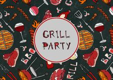 Seamless Pattern of Summer Grill Party. Steak, Sausage, Barbeque Grid, Tongs, Fork, Fire, Ketchup. Black Board Background and Chal. K. Hand Drawn Vector royalty free illustration