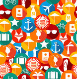 Seamless pattern of summer icons. Royalty Free Stock Photos
