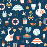 Seamless pattern with summer icons. Seamless pattern with colorful summer icons and cute goose. Vector illustration Royalty Free Stock Images