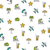 Seamless pattern with summer icons. Vector seamless pattern with colored summer icons on white background Royalty Free Stock Photo