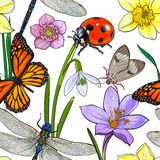 Seamless pattern of summer insects and flowers, sketch vector illustration. On white background. Hand drawn seamless pattern, background, wrapping paper design Royalty Free Stock Photo