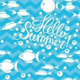 Seamless pattern of fish in the sea and Summer lettering, vector illustration. Seamless pattern of Summer lettering and fish in the sea, vector illustration Royalty Free Stock Photography