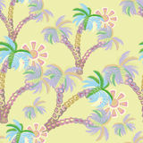 Seamless pattern. summer.palm trees with the sun. Royalty Free Stock Photography