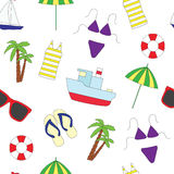 Seamless pattern. Summer and sea. Royalty Free Stock Photography