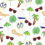 Seamless pattern on a summer subject. A vector picture. Seamless pattern on a summer subject. A vector picture with the ship, sunglasses, slaps, a chaise lounge royalty free illustration