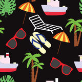 Seamless pattern on a summer subject. A vector picture. Seamless pattern on a summer subject. A vector picture with the ship, sunglasses, slaps, a chaise lounge Royalty Free Stock Photography