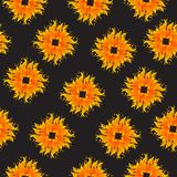 Seamless Pattern with Summer Sun Shapes. Vector Illustration on a black backgroud. Seamless Pattern with Summer Sun Shapes. Vector Illustration. Flat Style Stock Photos