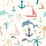 Seamless pattern with summer symbols. Seamless pattern with colorful summer symbols on light background Stock Illustration