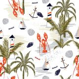 Seamless pattern summer tropical island of mediterranean. With lobster shell ,lemon,anchor, for fashion fabric,wallpapre,webpage on white in hand drawn style Royalty Free Stock Photos
