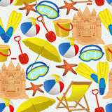 Seamless pattern with summer vacation accessories. Beach activity objects on white background. Vector illustration Royalty Free Stock Photography