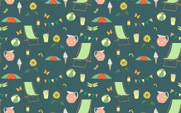 Seamless pattern summer vacation Stock Images
