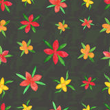 Seamless pattern of summer watercolor flowers. Of different colors stock illustration