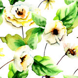 Seamless pattern with summer yellow flowers Royalty Free Stock Images