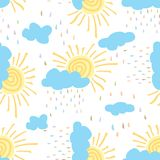 Seamless pattern of sun clouds colorful rain Royalty Free Stock Image