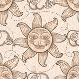 Seamless pattern with sun and clouds. Royalty Free Stock Image
