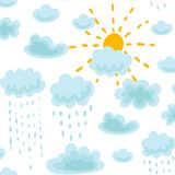 Seamless pattern sun, clouds and rain Royalty Free Stock Photography