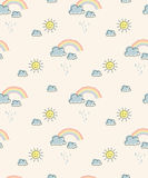 Seamless pattern with sun, clouds and rainbows. Vector illustration Stock Photo