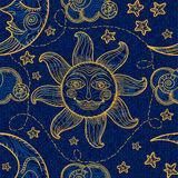 Seamless pattern with sun, moon and clouds. Stock Photo
