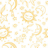 Seamless pattern of sun, moon and stars. Cute and funny seamless vector space pattern with sun, moon and stars Royalty Free Stock Image