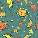 Seamless pattern of sun, moon and stars. Cute and funny seamless vector space pattern with sun, moon and stars Royalty Free Stock Photo