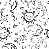 Seamless pattern of sun, moon and stars. Cute and funny seamless vector space pattern with sun, moon and stars Royalty Free Stock Images