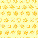 Seamless pattern with sun. Vector illustration. Stock Photo