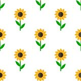 Sunflower Flat Icon Seamless Pattern Royalty Free Stock Images