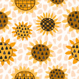 Seamless pattern with sunflower and seeds Royalty Free Stock Photography