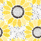 Seamless pattern with sunflowers. Abstract floral background. Endless floral pattern with sunflowers. Abstract  illustration Royalty Free Stock Photography
