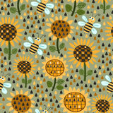 Seamless pattern with sunflowers and bees Stock Photography