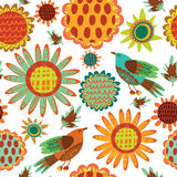 Seamless pattern with sunflowers and birds. Cute seamless floral pattern Royalty Free Stock Photography
