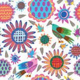 Seamless pattern with sunflowers and birds Royalty Free Stock Photos