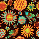 Seamless pattern with sunflowers and birds Stock Photography