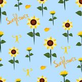 Seamless pattern with sunflowers vector illustration