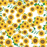 Seamless pattern of sunflowers full coverage royalty free illustration