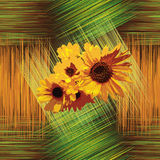 Seamless pattern with sunflowers on grunge striped background Stock Image