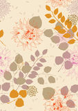 Seamless Pattern with Sunflowers and Leaves Stock Images
