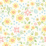 Seamless Pattern With Sunflowers Royalty Free Stock Photography